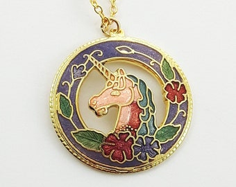 Cloisonne Unicorn Necklace in Purple