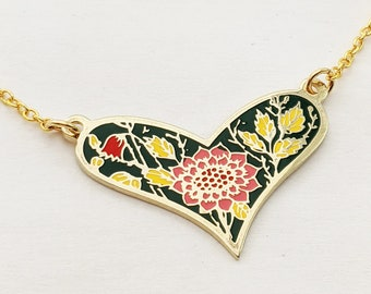 Enamel Sunflower and Tulip Heart Necklace