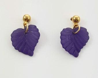Autumn Leaves Earrings in Purple