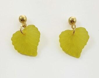 Autumn Leaves Earrings in Lemon Yellow