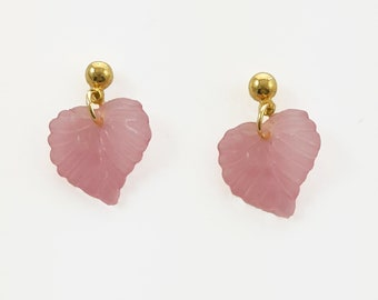 Pale Pink Leaf Earrings