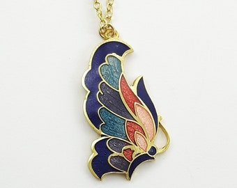 Art Nouveau Butterfly Necklace in Blue