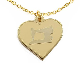 Enamel Sewing Machine Heart Necklace