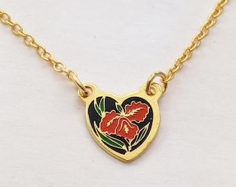 Tiny Hibiscus Heart Charm Necklace