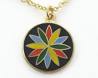 Joy & Prosperity Charm Necklace in Gold - Black Enamel Charm Neckace