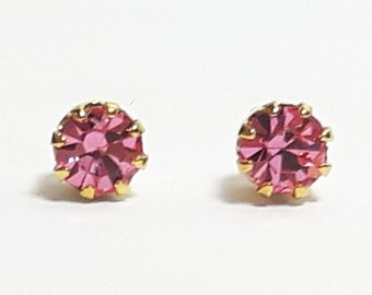 Petite Gold Plated Pink Crystal Studs