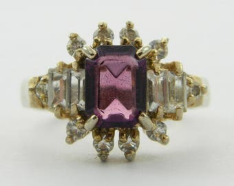 Vintage Octagon Faux Amethyst and Baguette CZ Ring