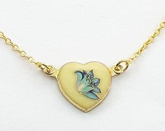 Vintage Blue Floral Print Heart Necklace