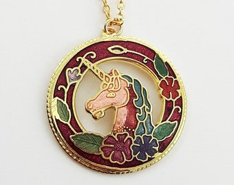 Cloisonne Unicorn Necklace in Red