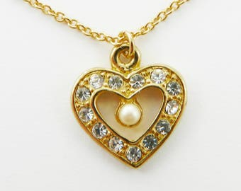 Crystal and Pearl Heart Necklace - NC2009