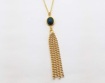 Mandala Tassel Necklace in Blue