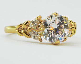 Gold Antique Style Round and Marquise Cocktail Ring