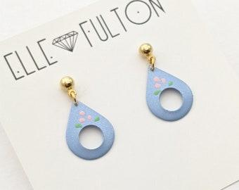 Vintage Folk Teardrop Earrings in Blue with Pink Floral
