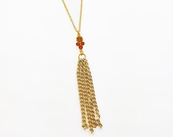 Autumn Topaz Crystal Tassel Necklace