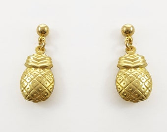 Brass Pineapple Earrings