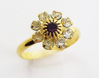 Vintage Adjustable Amethyst and Crystal Floral Cluster Pinky Ring - Adjustable Ring