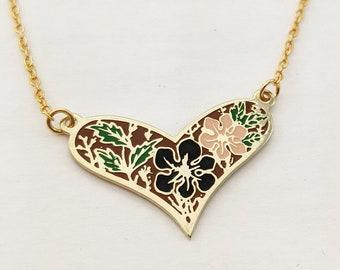 Enamel Fall Floral Heart Necklace