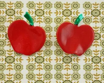Folk Art Apple Earrings