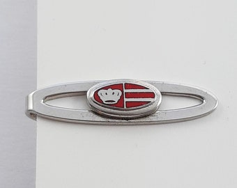 Silver and Red Enamel Crown Tie Clip