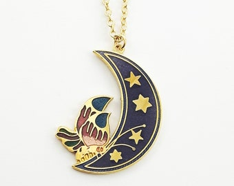 Crescent Moon Butterfly Necklace in Navy