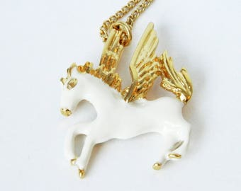 Vintage Gold Pegasus Necklace