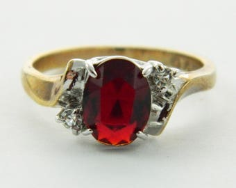 Vintage Faux Ruby Gold Plated Cocktail Ring