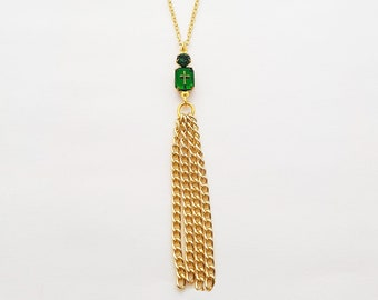 Emerald Cross Crystal Tassel Necklace
