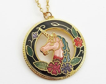 Cloisonne Unicorn Necklace in Black