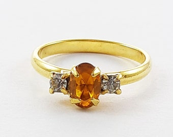 Vintage Orange Oval Crystal Three Stone Adjustable Ring