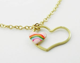 Pink Rainbow Heart Cutout Necklace
