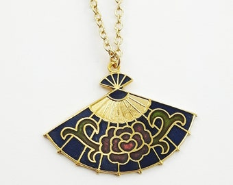 Cloisonne Fan Necklace in Navy