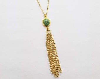 Mandala Tassel Necklace in Green