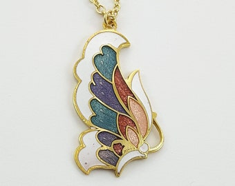 Art Nouveau Butterfly Necklace in White