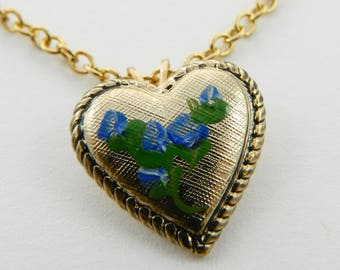 Vintage Blue Flowers Heart Necklace