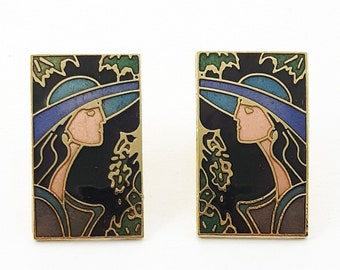 Vintage Cloisonne Art Nouveau Profile Earrings