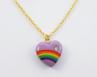 Imperfect Rainbow Heart Necklace - Seconds Sale
