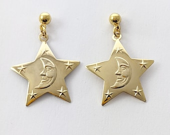 Man in the Moon Gold Star Earrings