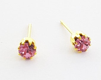 Gold Plated Pink Crystal Studs