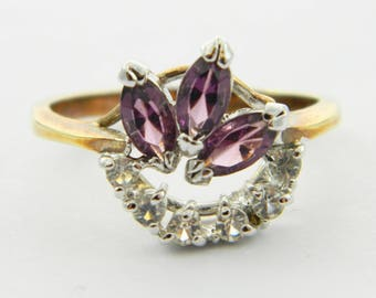 Vintage Faux Amethyst Triple Marquise Ring