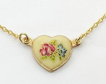 Vintage Pink Rose Print Heart Necklace