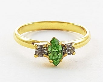 Vintage Lime Crystal Marquise Adjustable Ring
