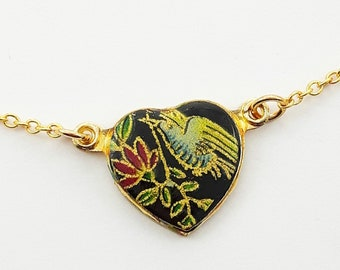 Vintage Hummingbird Black Heart Necklace