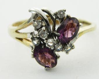 Vintage Faux Amethyst Oval Cluster Ring