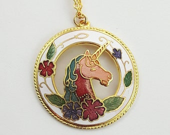 Cloisonne Unicorn Necklace in White