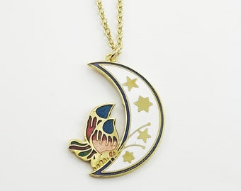 Crescent Moon Butterfly Necklace in White