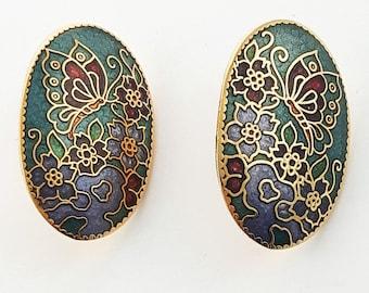 Vintage Cloisonne Butterfly Earrings in Teal