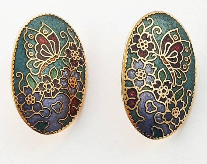 Featured listing image: Vintage Cloisonne Butterfly Earrings in Teal