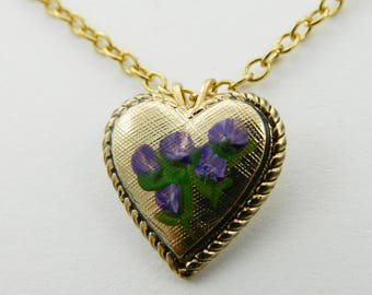 Vintage Purple Flower Heart Necklace
