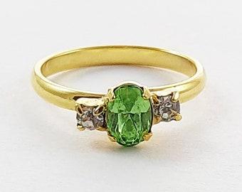 Vintage Oval Lime Crystal Three Stone Adjustable Ring