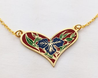 Enamel Heart Necklace with Blue Hibiscus